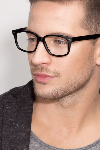 John Black Acetate Eyeglass Frames for Men from EyeBuyDirect