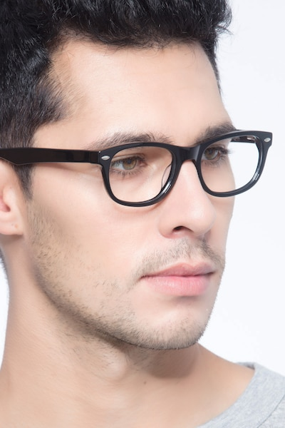 HA979 Black Acetate Eyeglass Frames for Men from EyeBuyDirect, Front View
