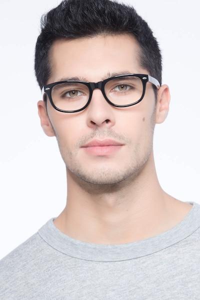 HA979 Black Acetate Eyeglass Frames for Men from EyeBuyDirect