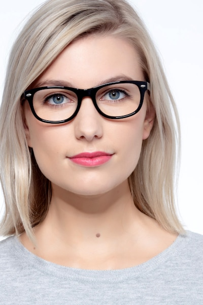 HA979 Black Acetate Eyeglass Frames for Women from EyeBuyDirect, Front View