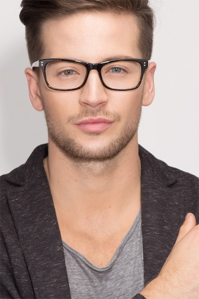 Ridge Tortoise Acetate Eyeglass Frames for Men from EyeBuyDirect, Front View