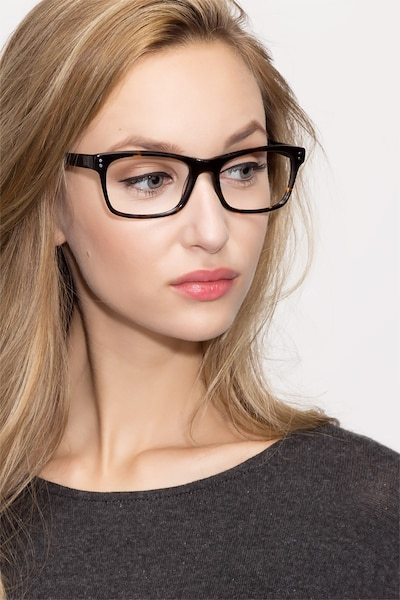 Ridge Tortoise Acetate Eyeglass Frames for Women from EyeBuyDirect, Front View