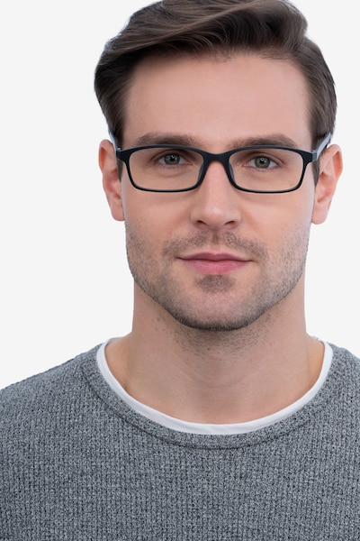 Corvallis Black Plastic Eyeglass Frames for Men from EyeBuyDirect, Front View