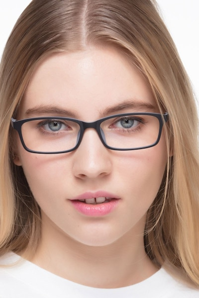 Corvallis Black Plastic Eyeglass Frames for Women from EyeBuyDirect, Front View