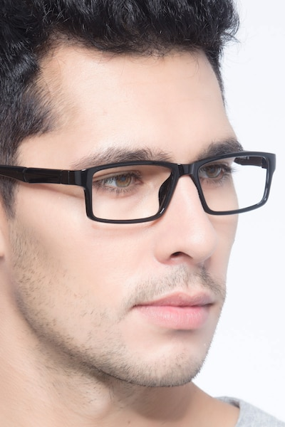 Bandon Black Plastic Eyeglass Frames for Men from EyeBuyDirect, Front View