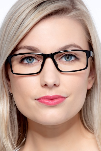 Bandon Black Plastic Eyeglass Frames for Women from EyeBuyDirect, Front View