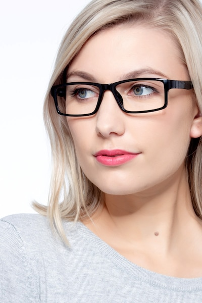 Bandon Black Plastic Eyeglass Frames for Women from EyeBuyDirect