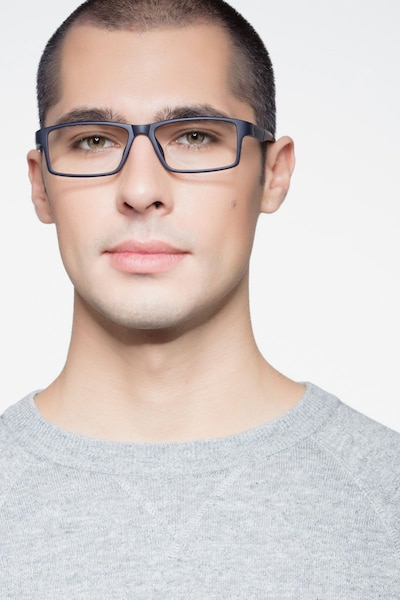 Bandon Navy Plastic Eyeglass Frames for Men from EyeBuyDirect, Front View