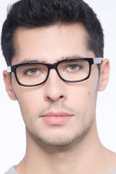Kyle Noir Acétate Montures de Lunettes pour Hommes d'EyeBuyDirect, Vue de Face