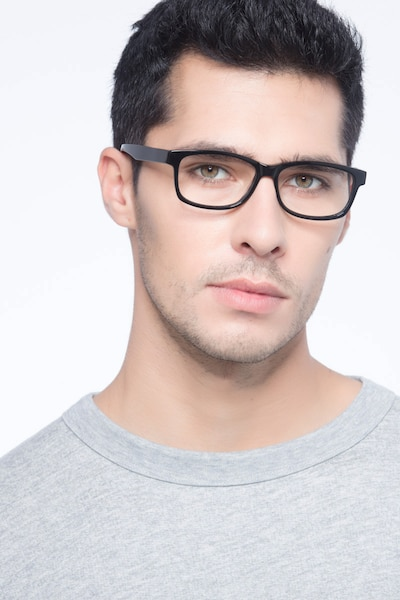 Kyle Black Acetate Eyeglass Frames for Men from EyeBuyDirect