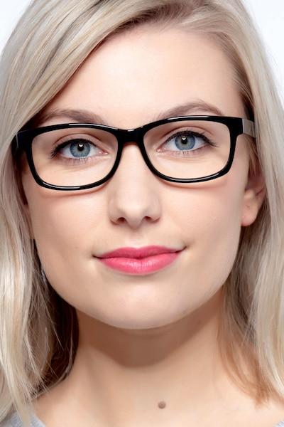 Kyle Noir Acétate Montures de Lunettes pour Femmes d'EyeBuyDirect, Vue de Face