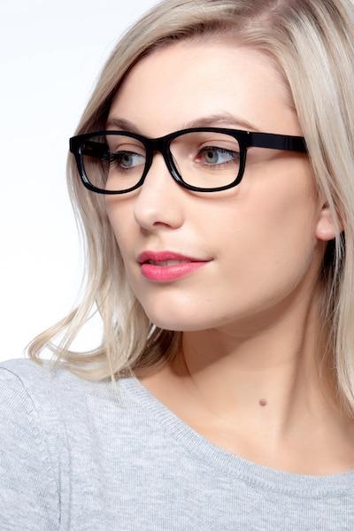 Kyle Noir Acétate Montures de Lunettes pour Femmes d'EyeBuyDirect