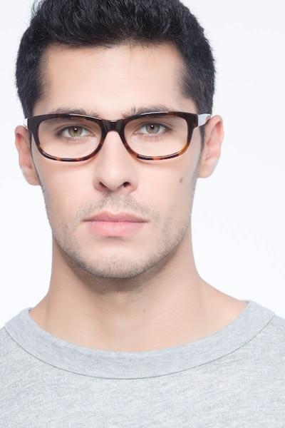 Presley Marron Acétate Montures de Lunettes pour Hommes d'EyeBuyDirect, Vue de Face