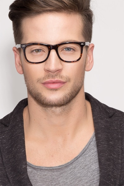 Sam Tortoise Acetate Eyeglass Frames for Men from EyeBuyDirect, Front View