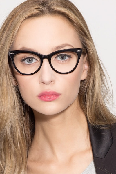 Anika Black Acetate Eyeglass Frames for Women from EyeBuyDirect, Front View