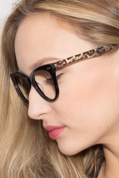 Anika Black Acetate Eyeglass Frames for Women from EyeBuyDirect