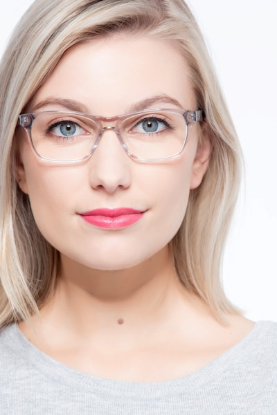 Alivia Gray/Clear Acetate Eyeglass Frames for Women from EyeBuyDirect, Front View