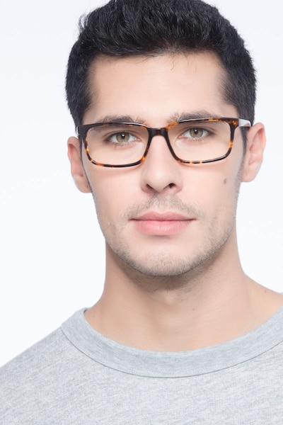 Denny Brown/Tortoise Acetate Eyeglass Frames for Men from EyeBuyDirect, Front View