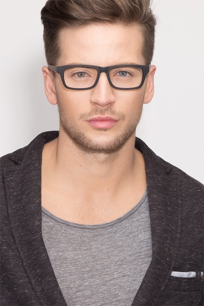 Emory Black Wood-texture Eyeglass Frames for Men from EyeBuyDirect, Front View