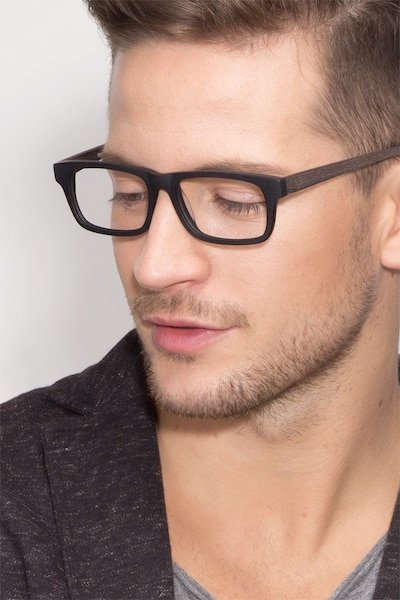 Emory Black Wood-texture Eyeglass Frames for Men from EyeBuyDirect