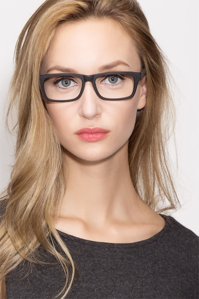 Emory Black Wood-texture Eyeglass Frames for Women from EyeBuyDirect, Front View