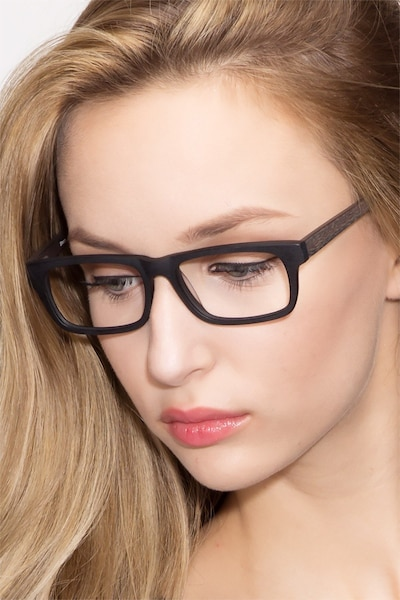 Emory Black Wood-texture Eyeglass Frames for Women from EyeBuyDirect