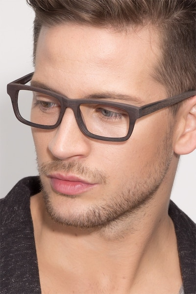 Emory Coffee Wood-texture Eyeglass Frames for Men from EyeBuyDirect