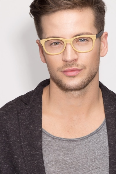 Panama Wood Wood-texture Eyeglass Frames for Men from EyeBuyDirect, Front View