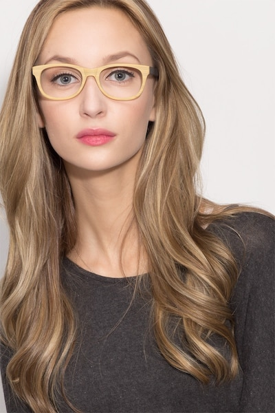 Panama Wood Wood-texture Eyeglass Frames for Women from EyeBuyDirect, Front View