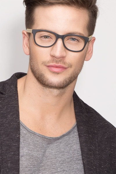Panama Black Wood-texture Eyeglass Frames for Men from EyeBuyDirect, Front View