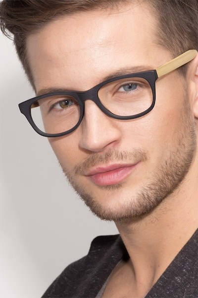 Panama Black Wood-texture Eyeglass Frames for Men from EyeBuyDirect