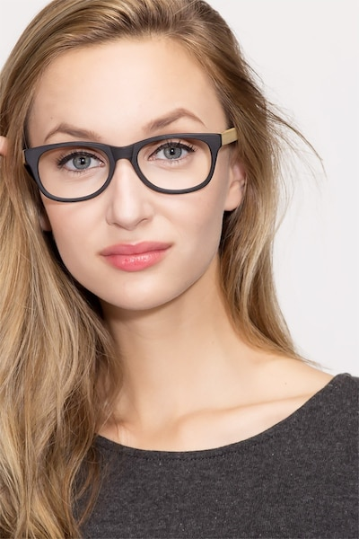 Panama Black Wood-texture Eyeglass Frames for Women from EyeBuyDirect, Front View