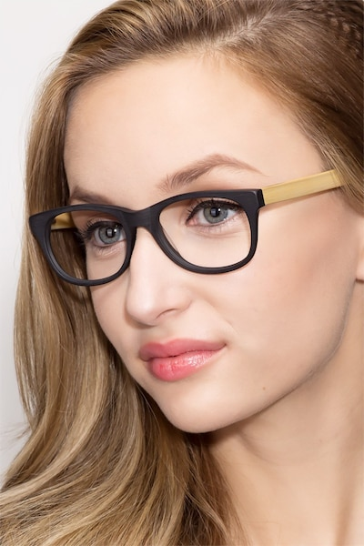 Panama Black Wood-texture Eyeglass Frames for Women from EyeBuyDirect