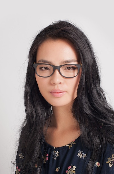 Panama Black Acetate Eyeglass Frames for Women from EyeBuyDirect, Front View