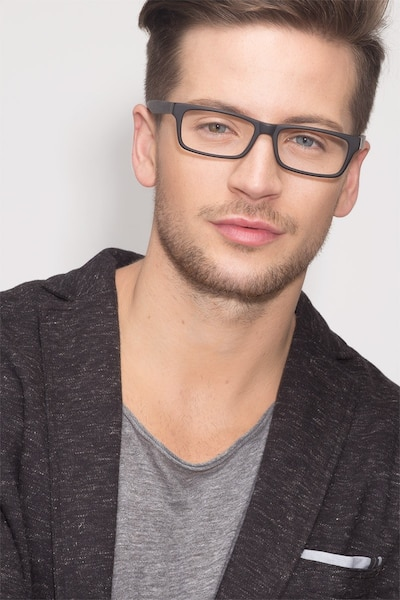 Cambridge Black Acetate Eyeglass Frames for Men from EyeBuyDirect, Front View