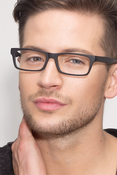 Cambridge Black Acetate Eyeglass Frames for Men from EyeBuyDirect