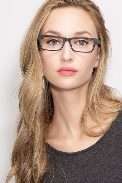 Cambridge Black Wood-texture Eyeglass Frames for Women from EyeBuyDirect, Front View