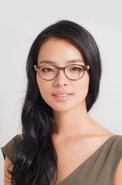Cape Cod Brown Wood-texture Eyeglass Frames for Women from EyeBuyDirect, Front View
