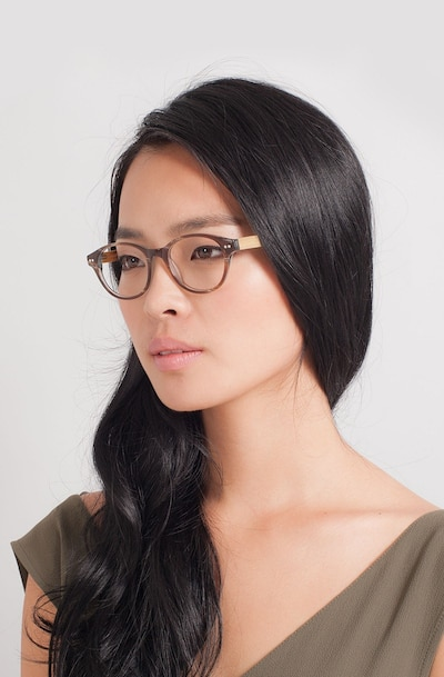 Cape Cod Brown Wood-texture Eyeglass Frames for Women from EyeBuyDirect