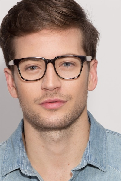 Belmont Coffee Wood-texture Eyeglass Frames for Men from EyeBuyDirect, Front View