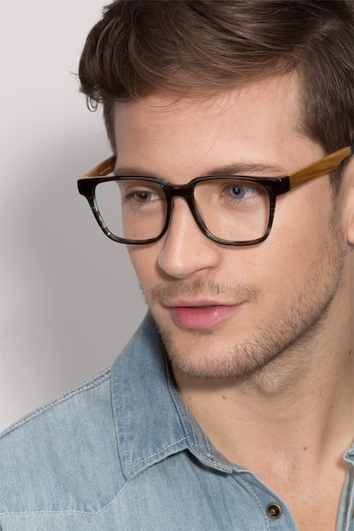 Belmont Coffee Wood-texture Eyeglass Frames for Men from EyeBuyDirect