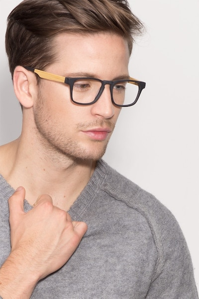 Lincoln Black Acetate Eyeglass Frames for Men from EyeBuyDirect, Front View