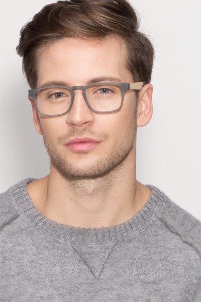 Lincoln Gray Acetate Eyeglass Frames for Men from EyeBuyDirect, Front View