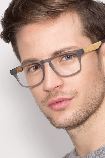 Lincoln Gray Acetate Eyeglass Frames for Men from EyeBuyDirect