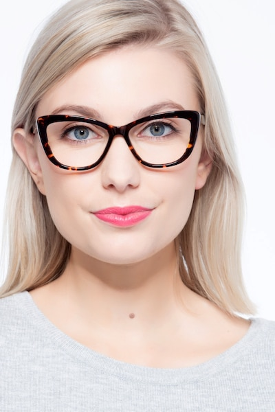 Charlotte Tortoise Acetate Eyeglass Frames for Women from EyeBuyDirect, Front View