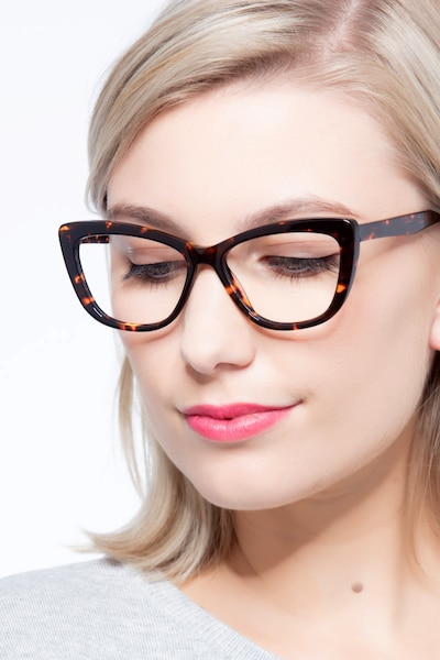 Charlotte Tortoise Acetate Eyeglass Frames for Women from EyeBuyDirect