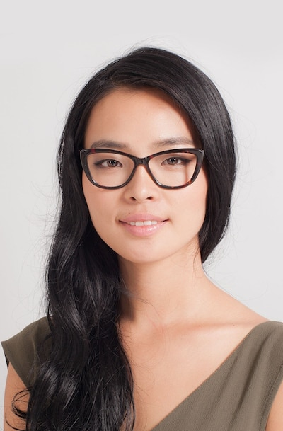 Charlotte Tortoise Acetate Eyeglass Frames for Women from EyeBuyDirect, Front View