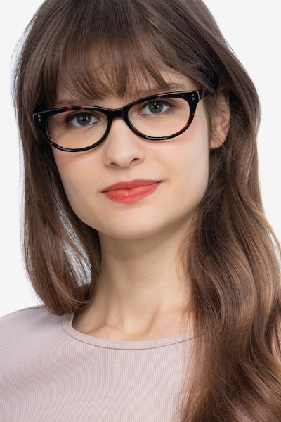 Monica Brown/Tortoise Acetate Eyeglass Frames for Women from EyeBuyDirect, Front View