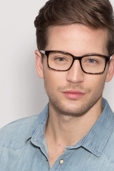 Claudia Brown/Tortoise Acetate Eyeglass Frames for Men from EyeBuyDirect