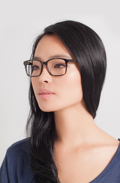 Claudia Brown/Tortoise Acetate Eyeglass Frames for Women from EyeBuyDirect